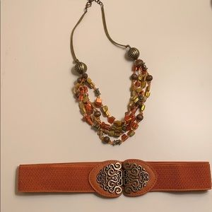 Accessories - Elastic waist belt and beaded necklace